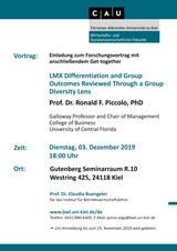 Einladung Vortrag Prof. Dr. Ron Piccolo